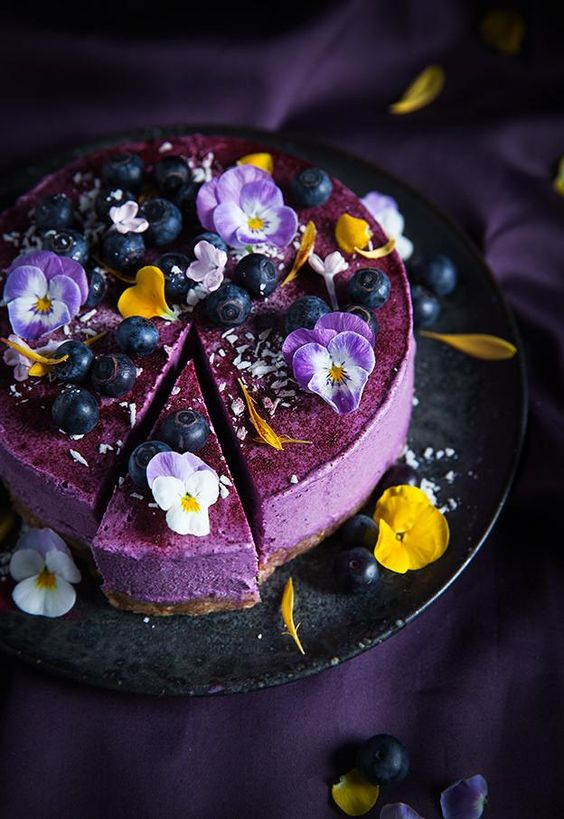 edible flower cheese cake