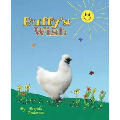 Silkie white chicken with flowers, butterflys, grass, bees. Buffy's Wish, Brenda's Kids Books
