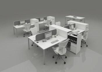4 Way Cluster Desks Bench Style