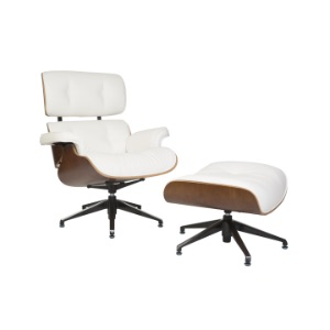 Eames Lounger and Footstool White
