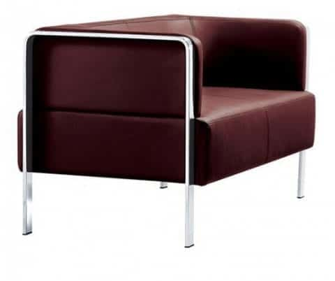 Marco Leather Couch Chrome Frame