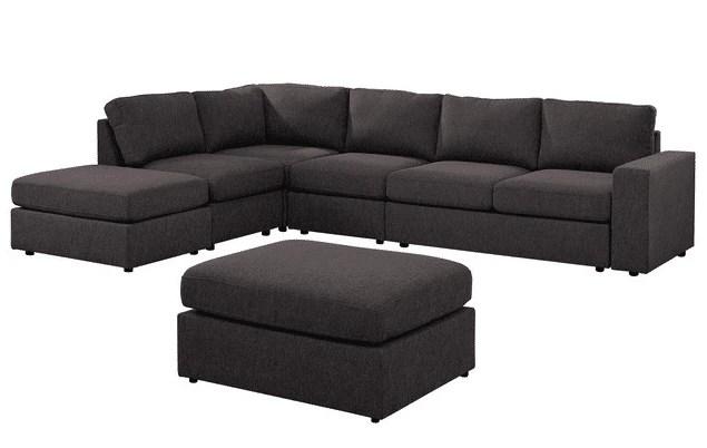 Cassia Modular Sectional Sofa with Ottoman in Dark Gray Linen