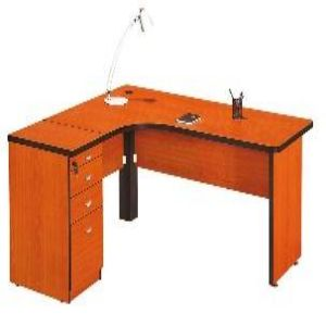 L Shaped Black PVC Edged Desk Cherry