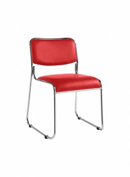 Chrome Leather Training Stacking Chair