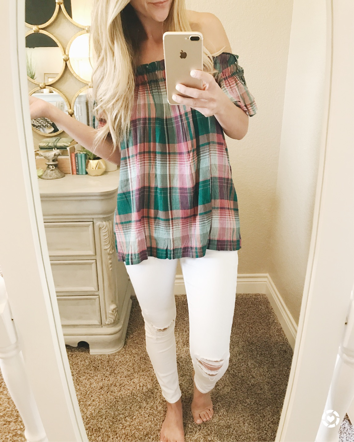 plaid top LOFT