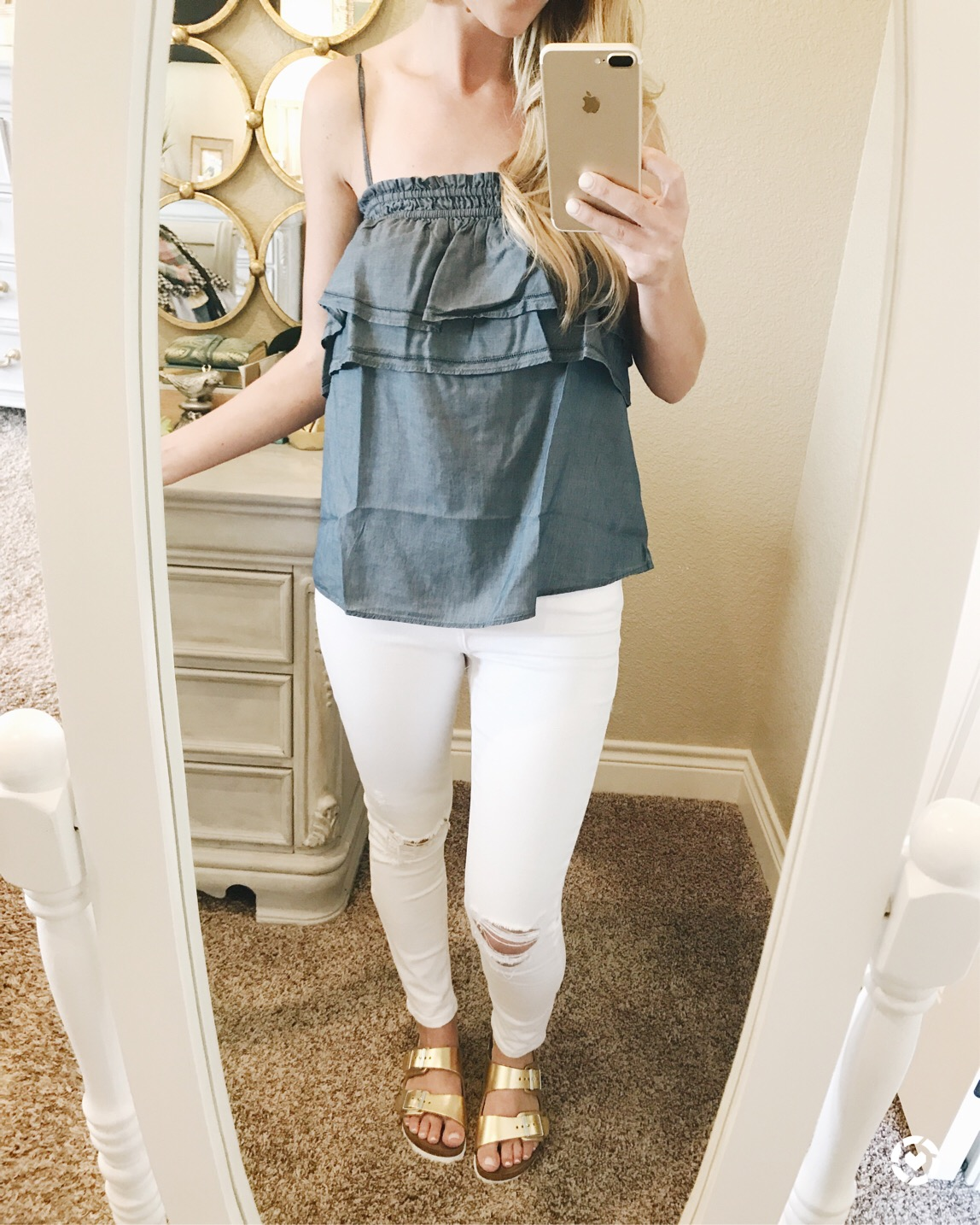 ruffle chambray top LOFT
