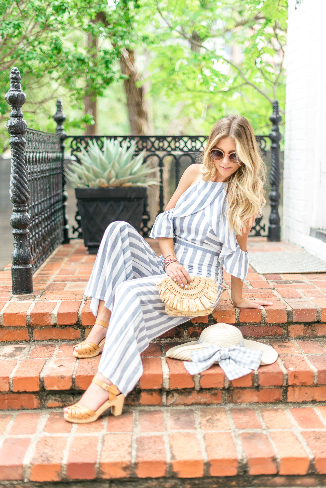 gingham straw hat // Blue striped jumpsuit // Swedish Hasbeens Wooden Clogs-2