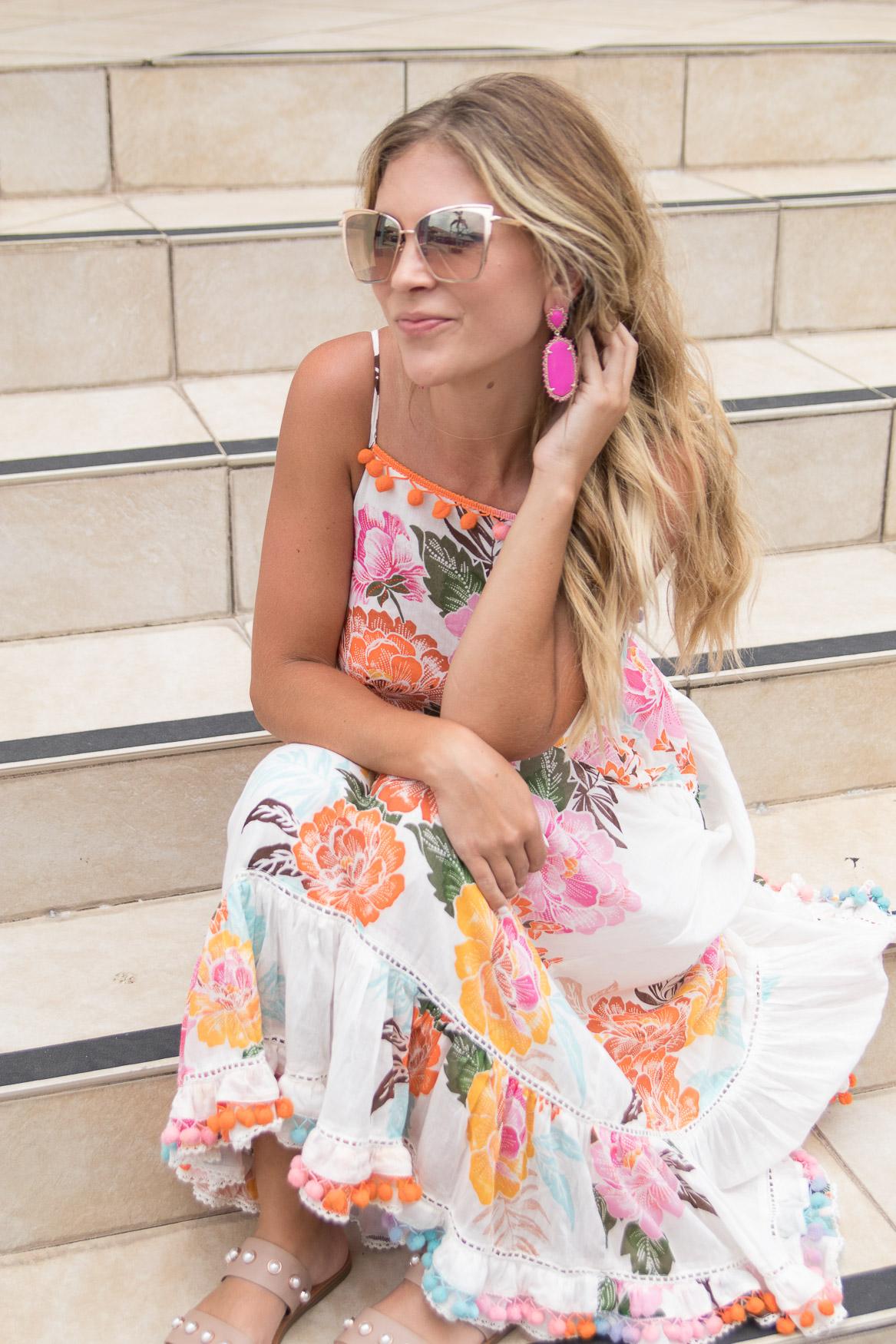 Floral Pom Pom Anthropologie Dress Colorful St. Kitts