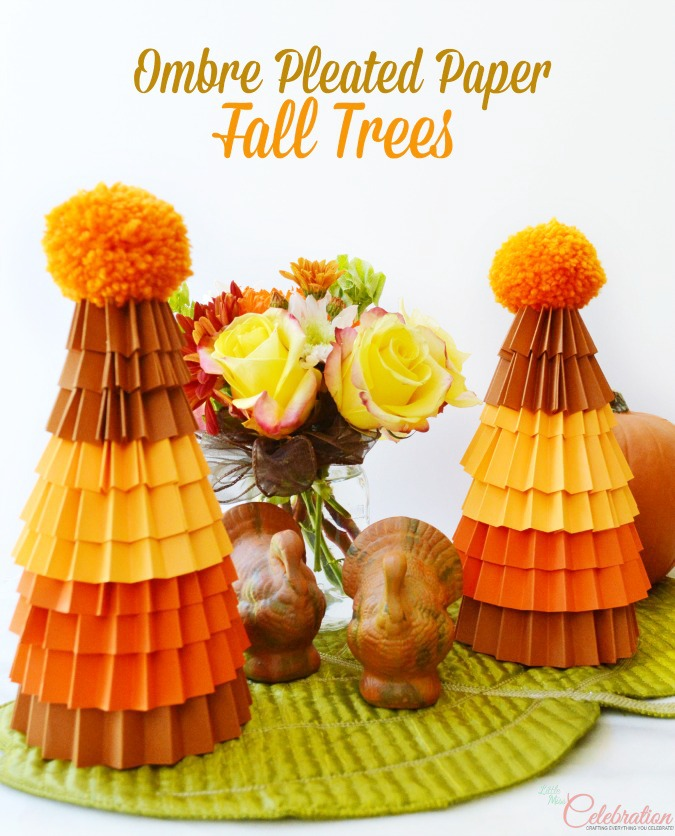 With some cardstock & Styrofoam cones, it's easy to create Ombre Pleated Paper Trees for your Thanksgiving table. Add a little Mason jar flower arrangement for a great centerpiece! At littlemisscelebration.com
