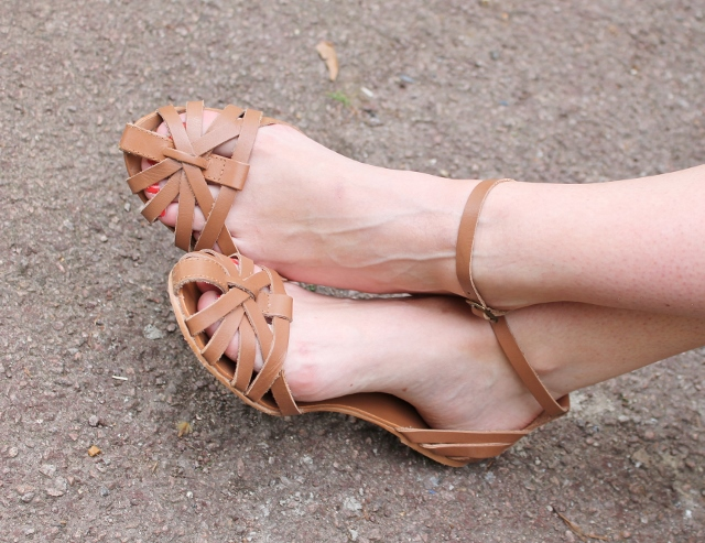 Tan strappy caged sandals from New Look