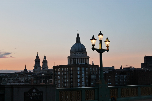 London St Paul's Cathedral skyline sunset