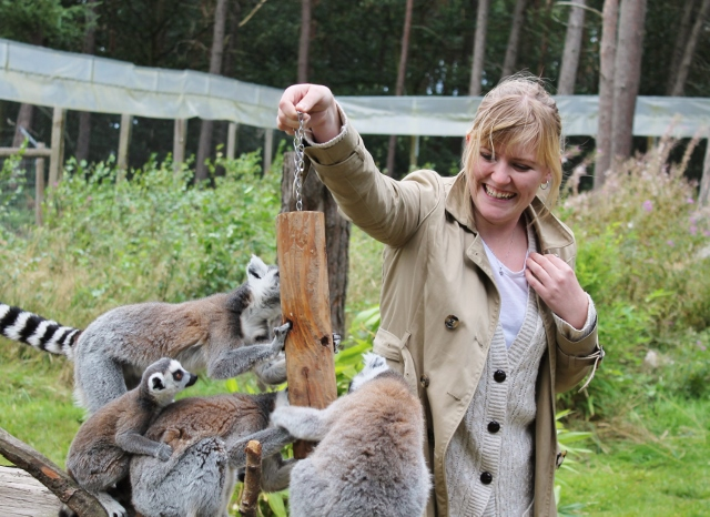 Katy feeding the lemurs