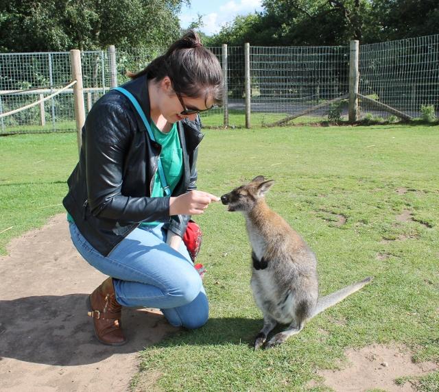 Shvonne feeding a wallaby