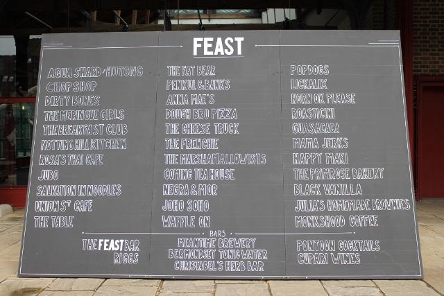 FEAST London menu