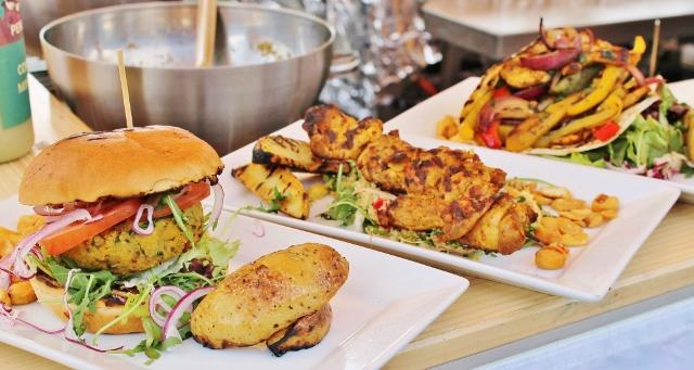 veggie burger, chicken skewers, veggie pitta