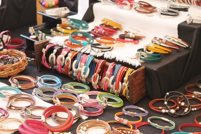 Colourful market stall jewellery