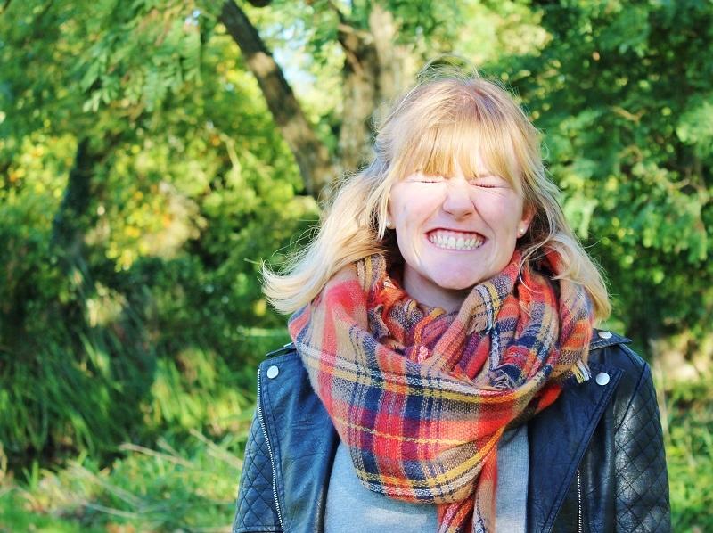 Zara orange tartan scarf