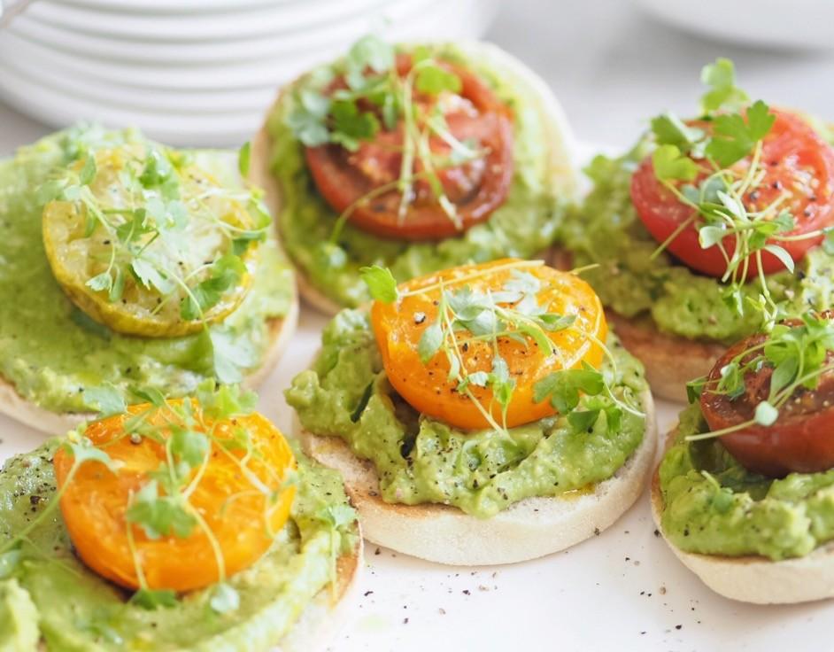 Avocado and tomato on English muffin
