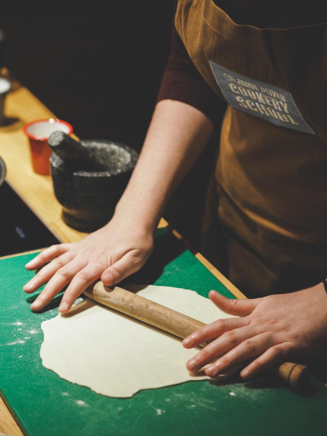 rolling gyoza dough