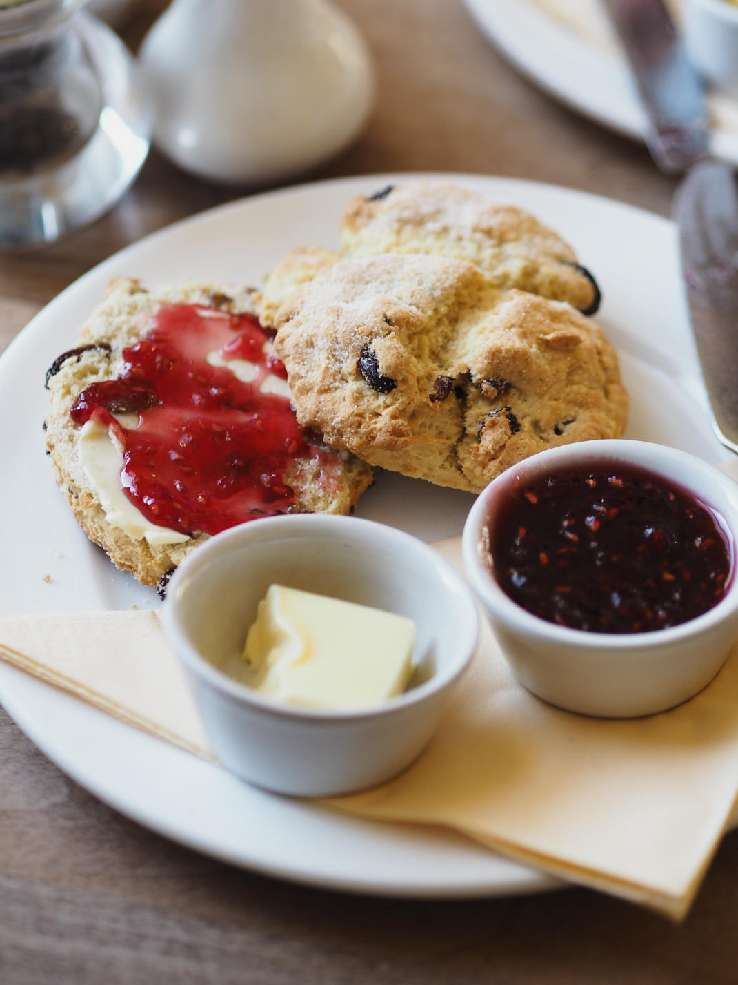 scones and jam at cafe harlequin in york