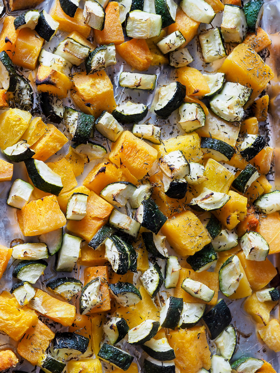 roasted butternut squash and courgette