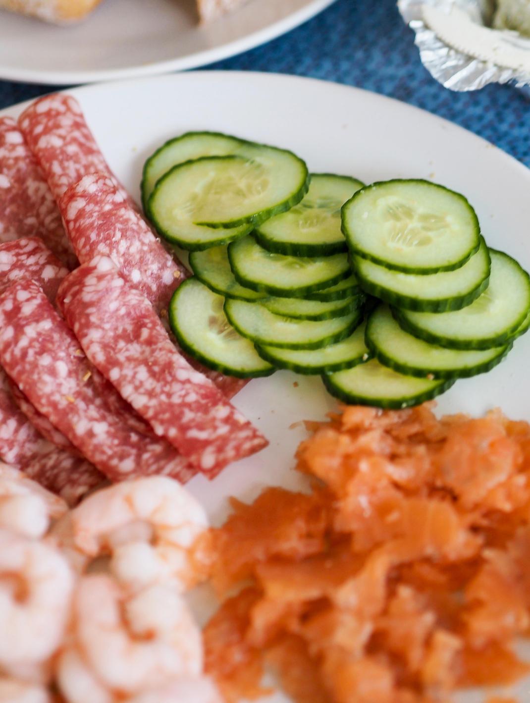 salami, cucumber, salmon and prawns