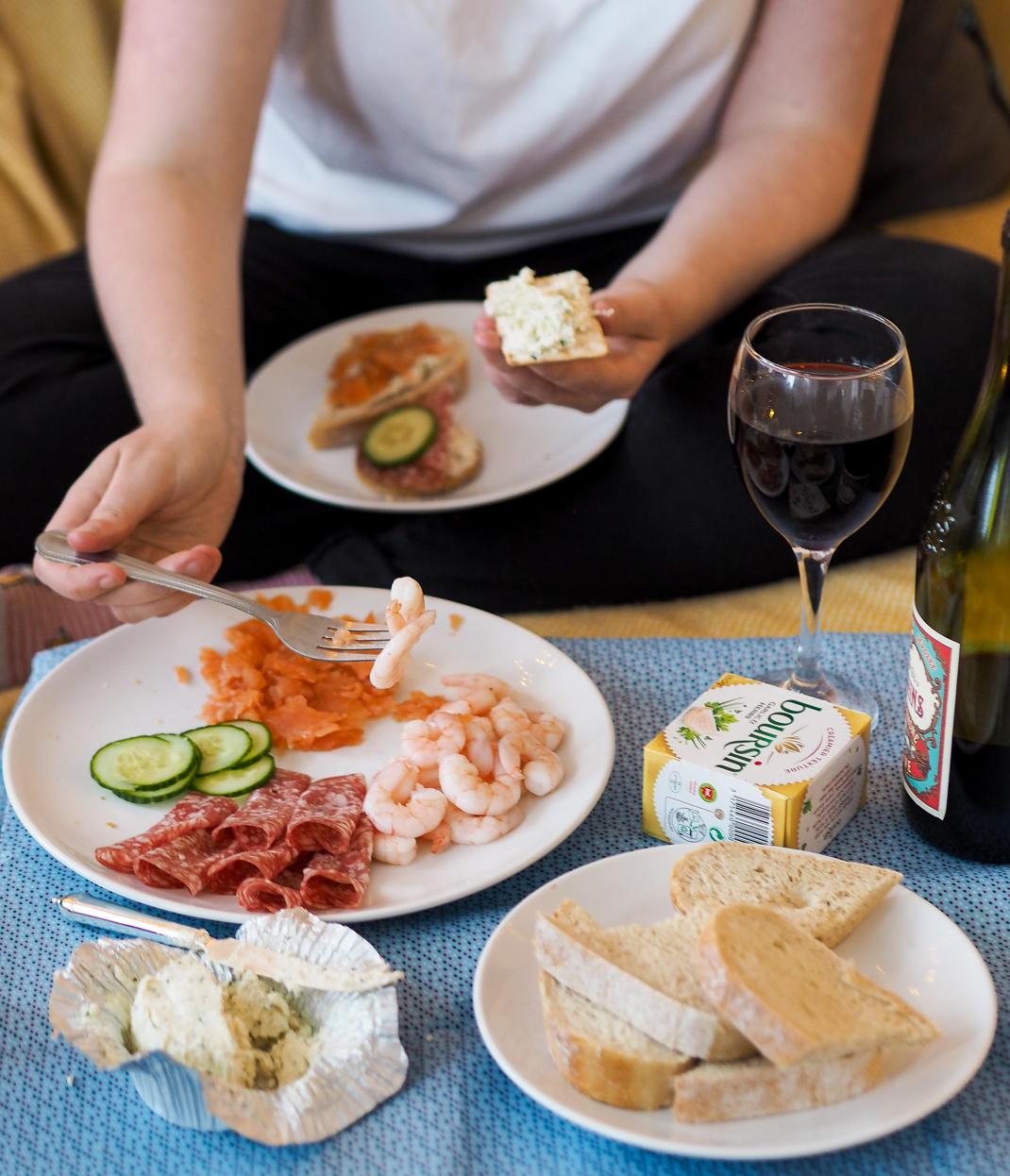 boursin and wine