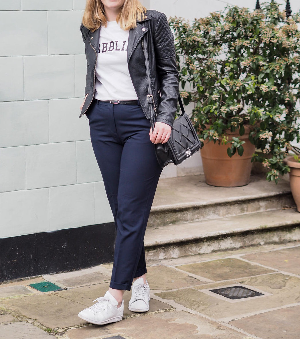 casual outfit with trousers, trainers and leather jacket