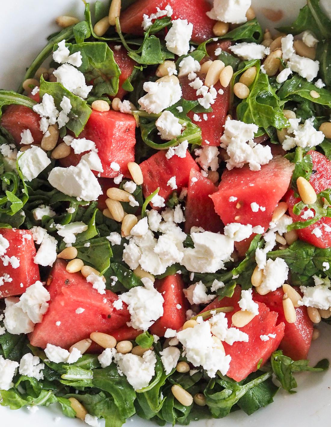 watermelon feta rocket salad with balsamic dressing