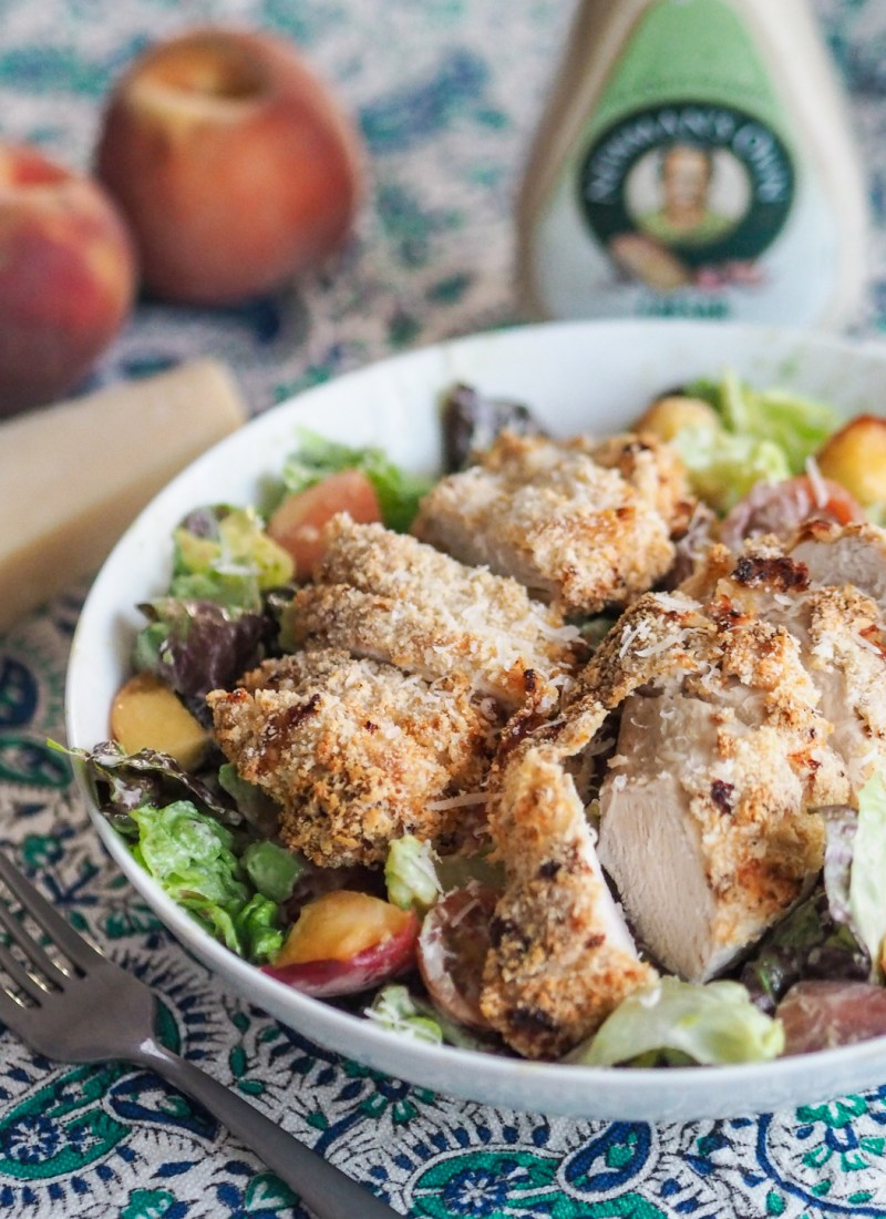 AD | Peach, Avocado and Crispy Chicken Caesar Salad