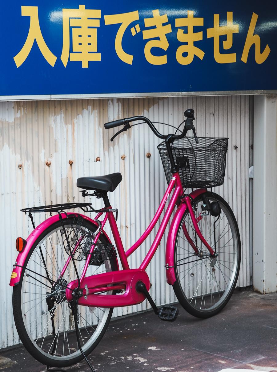 pink bicycle in japan