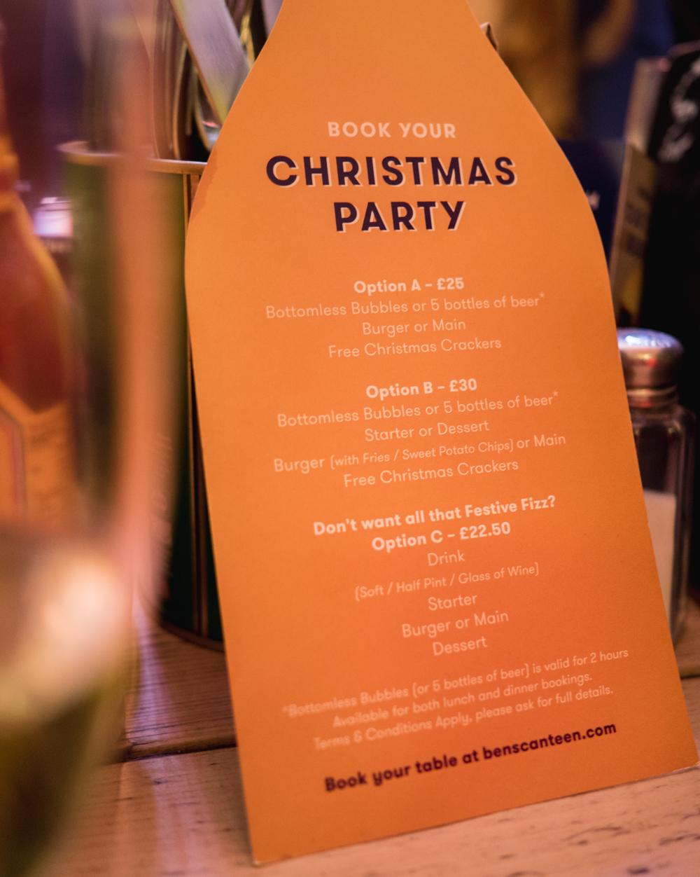 bens canteen christmas party menu