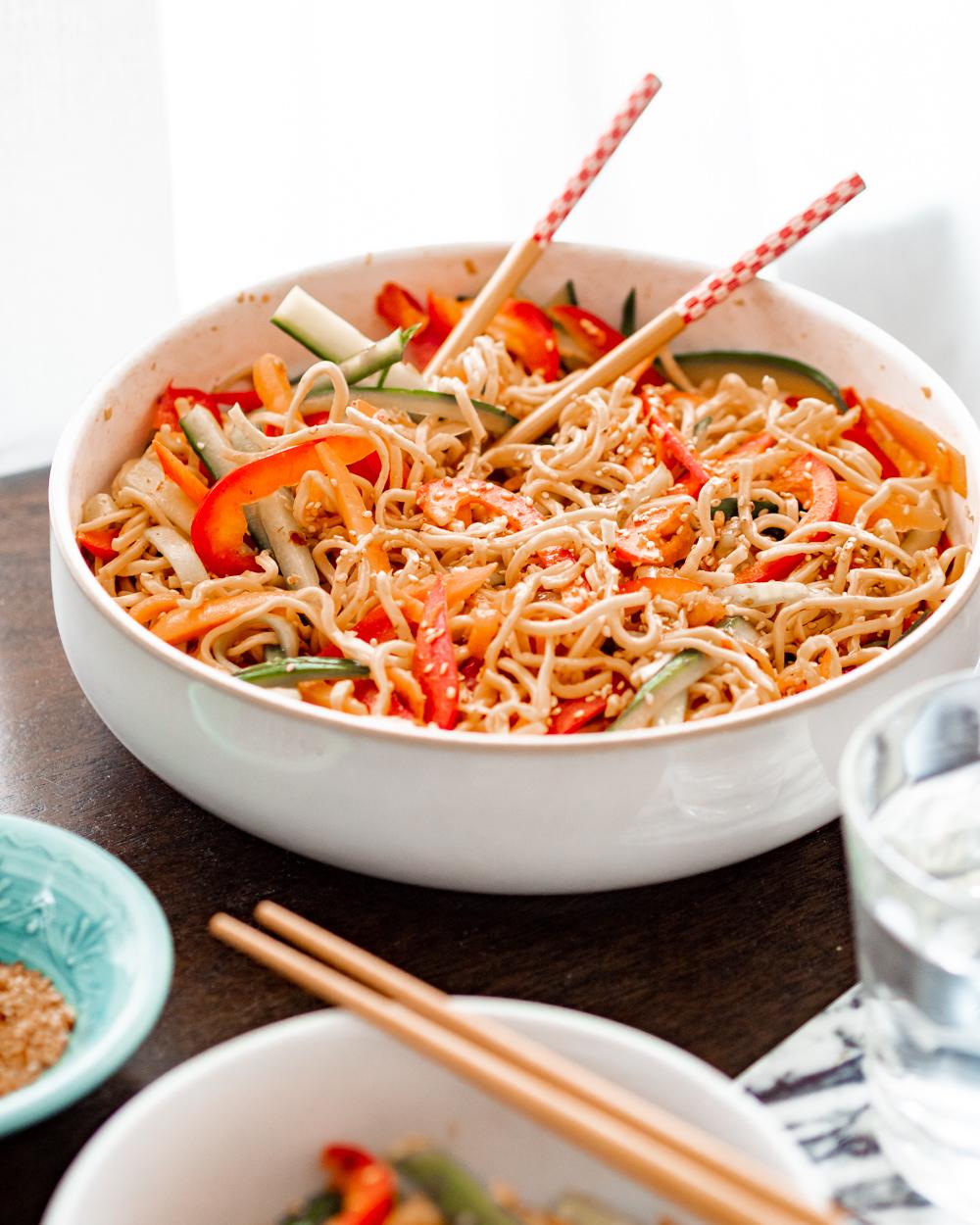 cold sesame noodle salad with crunchy veg