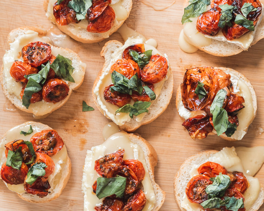 Camembert Crostini with Balsamic Roasted Tomatoes