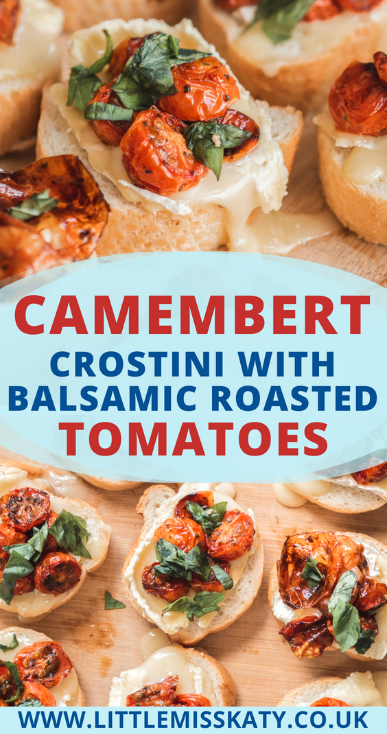 Try this delicious camembert crostini recipe: creamy Le Rustique Camembert de Printemps melted over slices of crusty French bread, then topped with juicy balsamic roasted tomatoes, and finished with fresh basil leaves. A perfect starter for any barbecue or garden party!