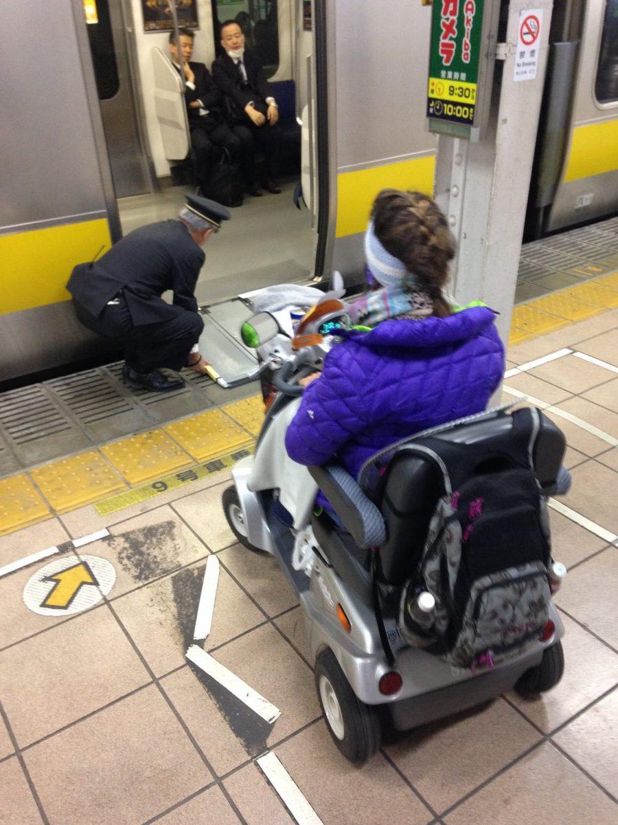 Boarding the JR Train in a wheelchair