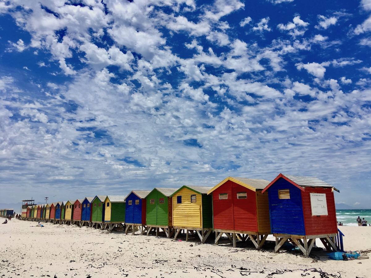 Colourful beach huts at Muizenberg Beach