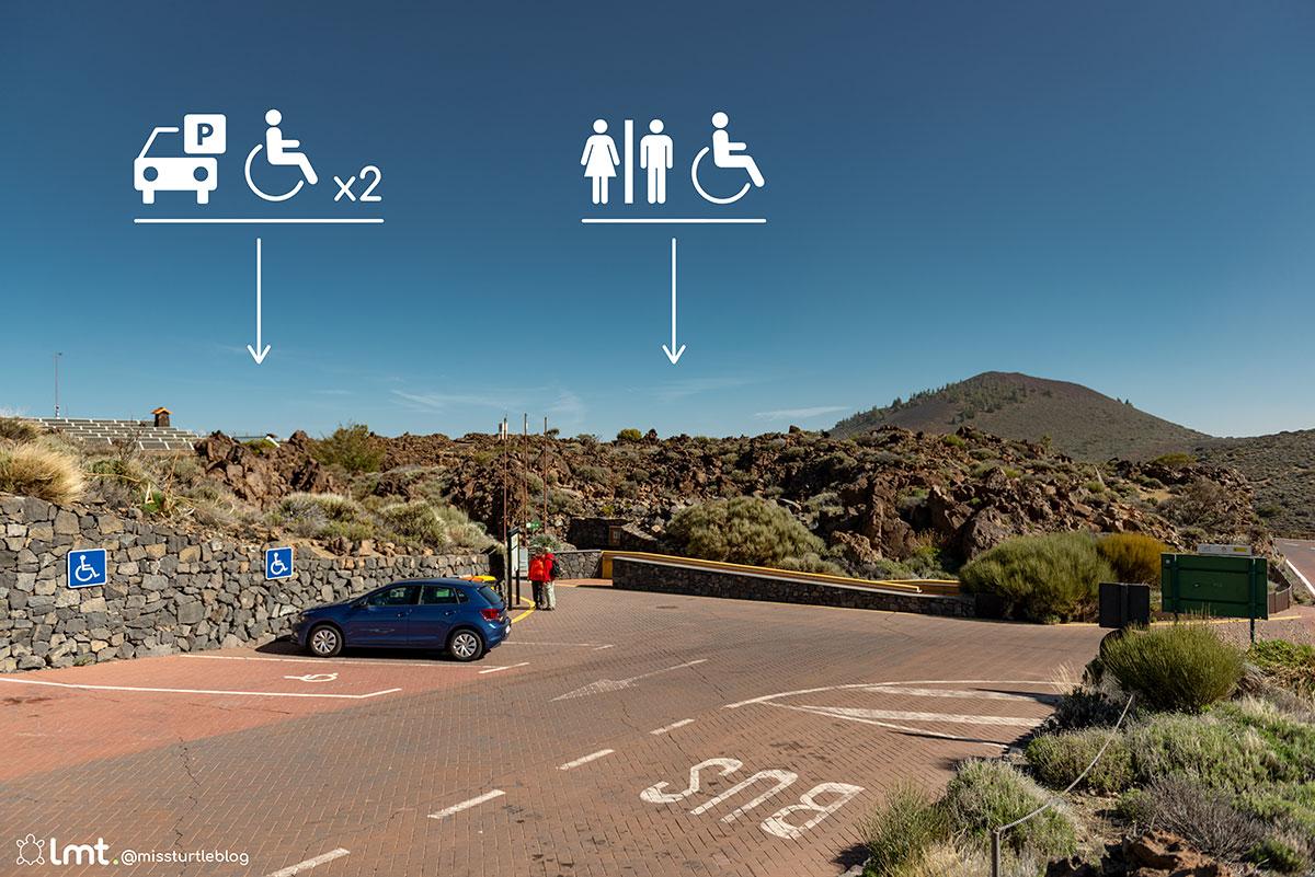Handicap parking El Portillo Visitor Center Teide National Park