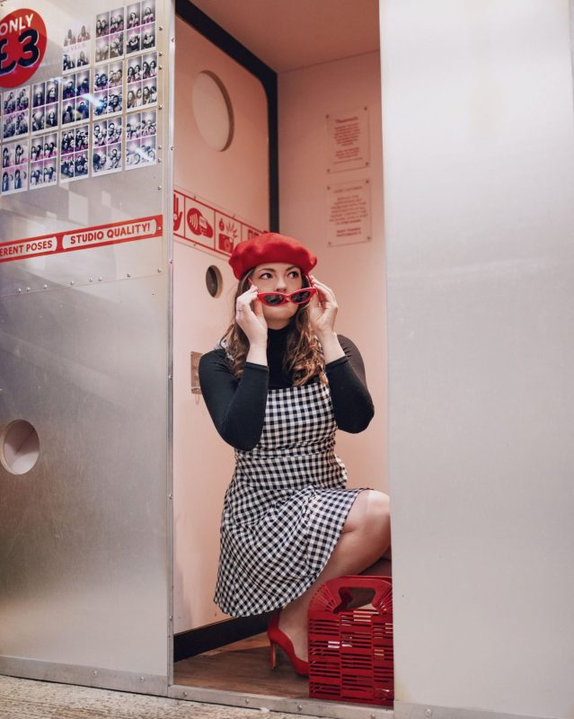 Kate Winney Little Miss WInney Checked ASOS Dress Red glasses Red Beret Fashion Wes Anderson