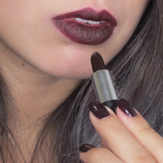 Kat Von D Studded Kiss lipstick and Formula Nail polish swatch in Homegirl