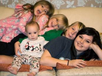Children in Xmas pyjamas
