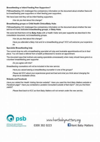 Breastfeeding service in Kent consultation document 2