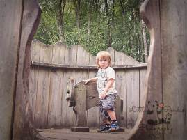Little boy with wooden bull