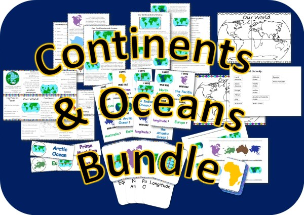 Continents and Oceans resource bundle cover photo