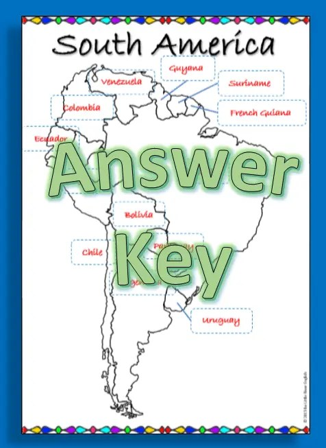 Answer key sample for South America map labeling