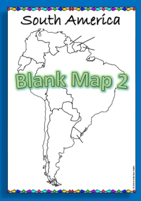 Example of the blank map from the South America map labeling product