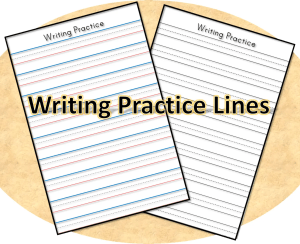 Writing practice lines in color and black and white