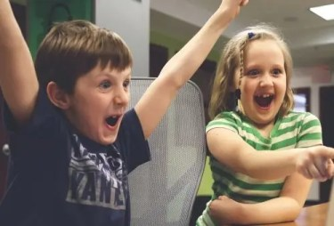 Kids excited about game