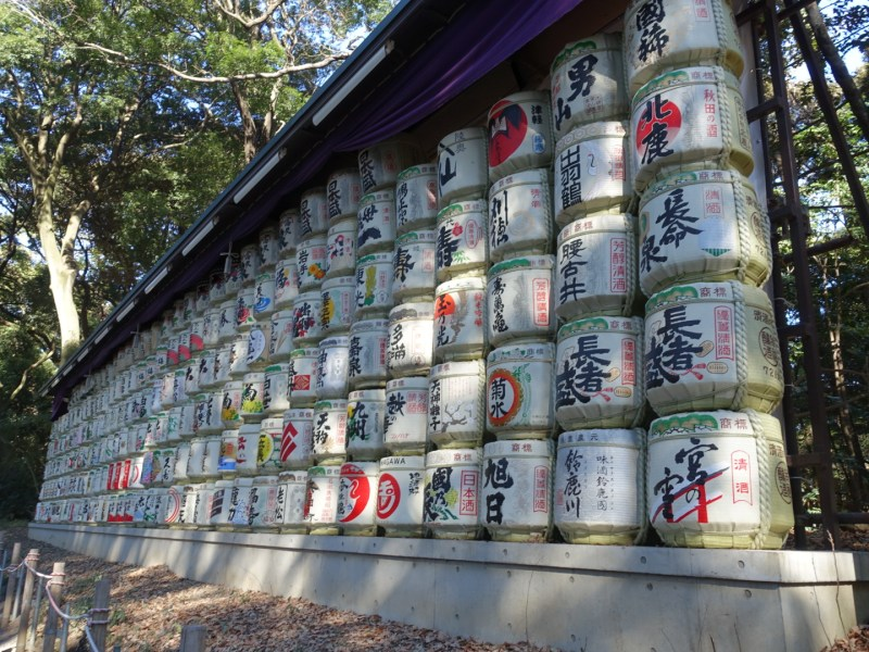 First, you'll come across barrels of sake wrapped in straw.