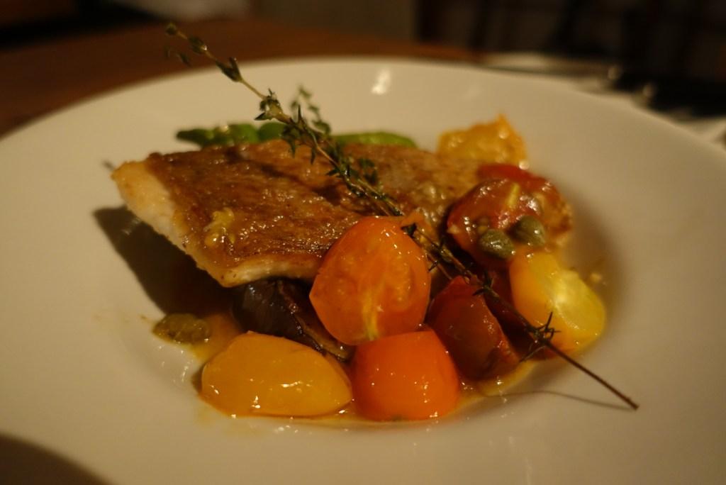 Perfectly seared fish.
